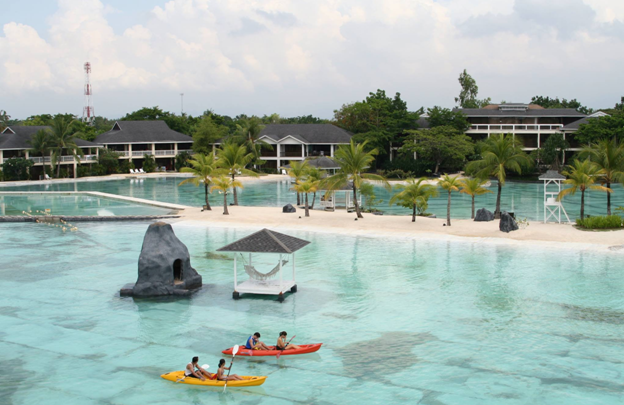 Caption: Photo above shows the resort's massive manmade lagoons. The reception area is on the left of this photo while the main restaurant is on the right of this photo. This photo is taken from the right side of the resort.