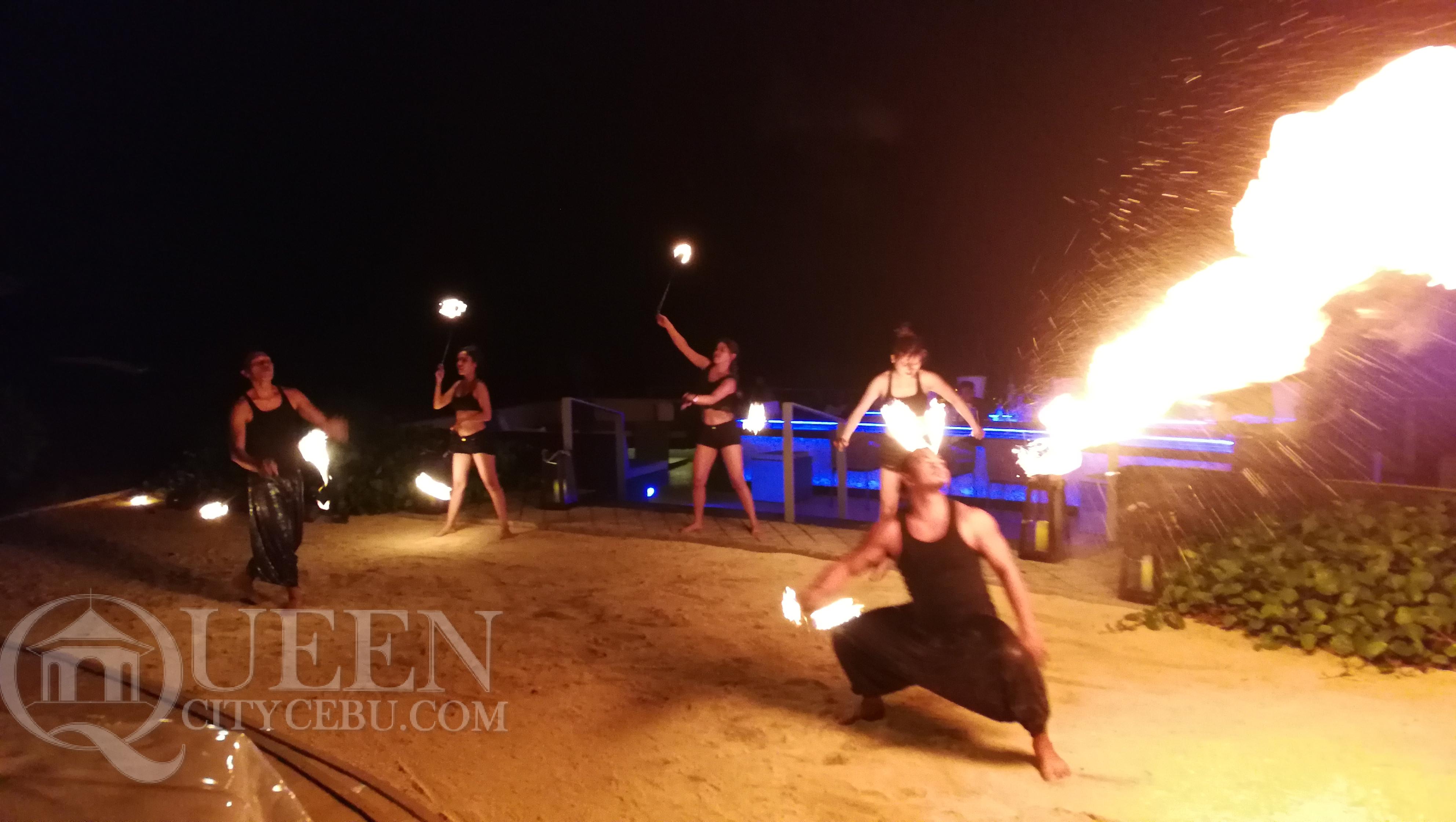 Fire dance performance at Crimson Resort