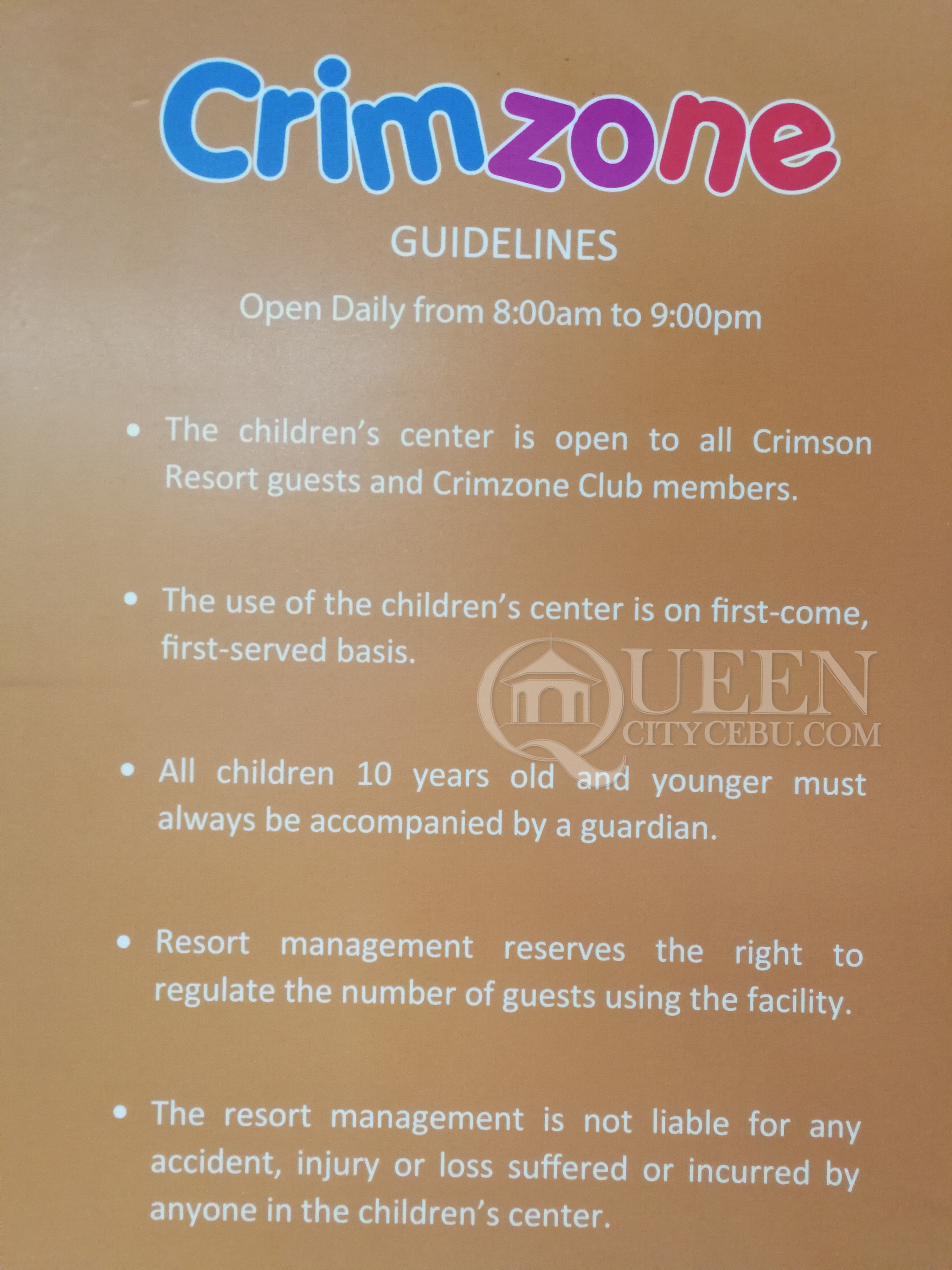 Crimson Resort's Crimzone Rules and Policies
