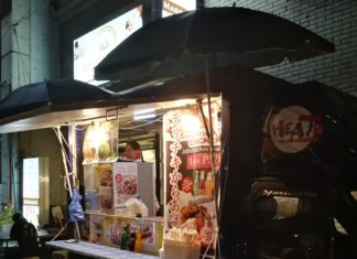 Okinawa Heat Japanese Food Truck Parked infront of Okinawa Spa