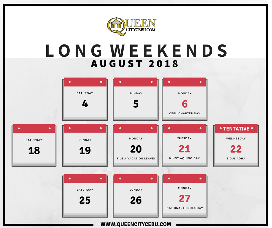 August 2018 Long Weekends