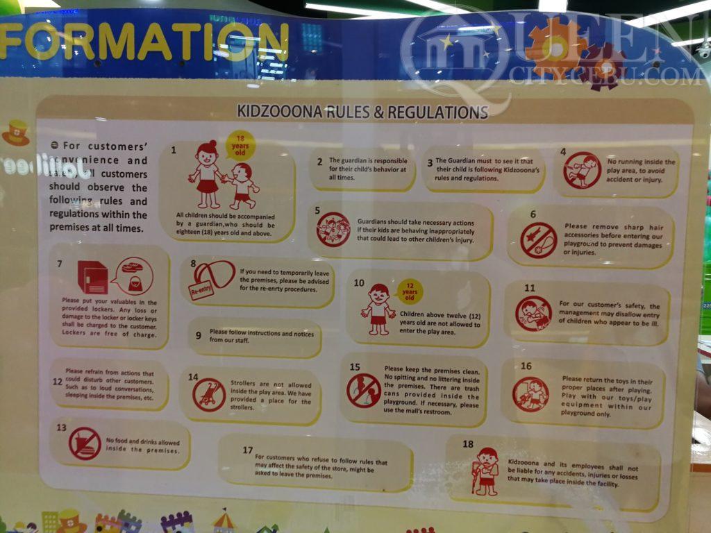 kidzoona rules and regulations