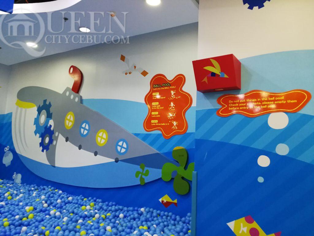 kidzoona swim ball area facing wall