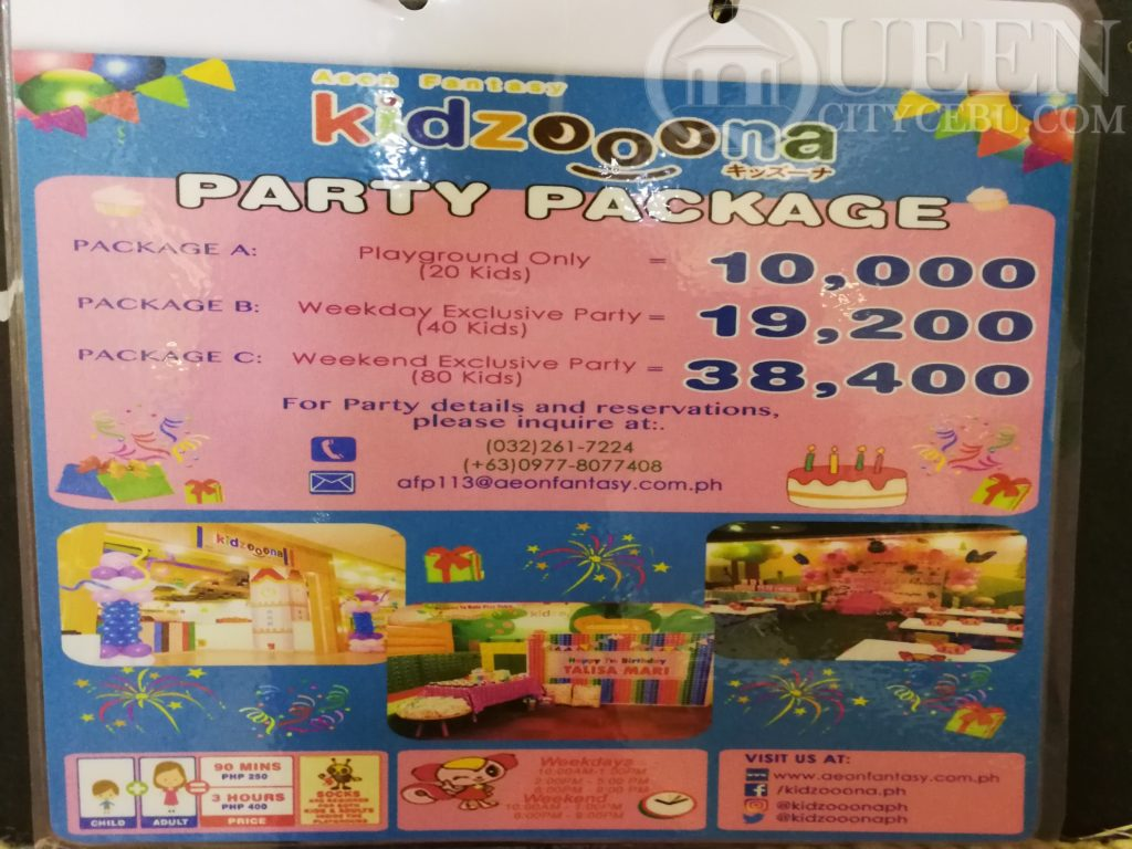 party packages price kidzoona