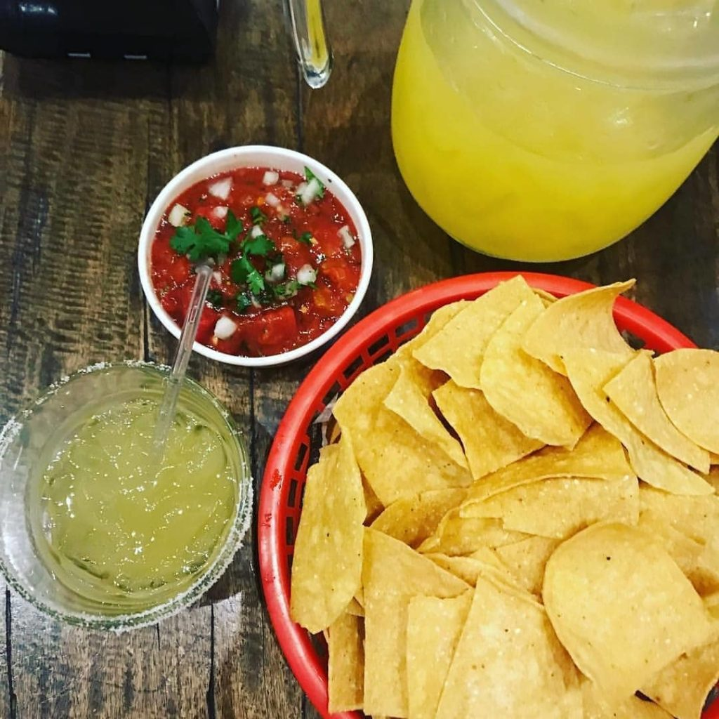 Red Lizard's Margarita Pitcher and home made massa chips.