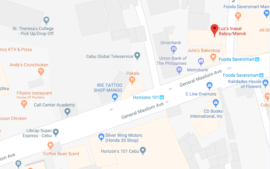 Map to Luz's Inasal