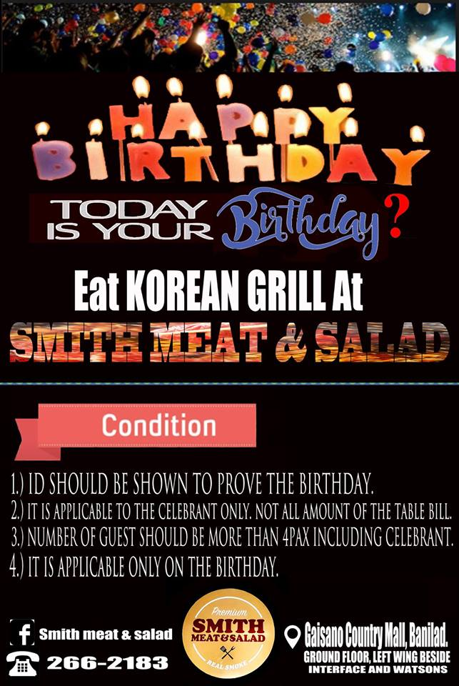Birthday Promo at Smith Meat and Salad. Photo from Smith Meat and Salad