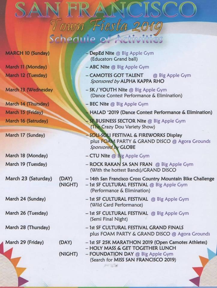 Soli Soli Fiesta Schedule 2019. Photo from Soli Soli Festival (Facebook)