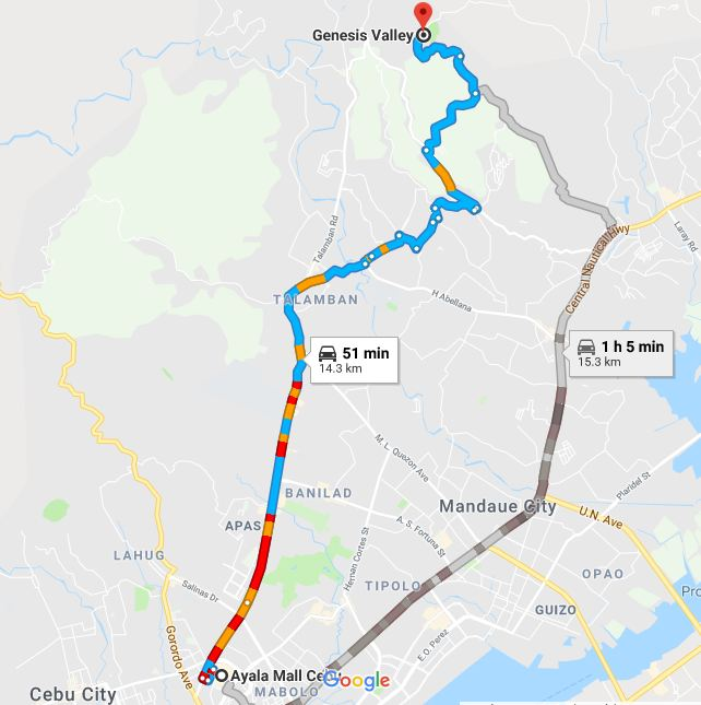 Map From Ayala Center Mall to Genesis Valley Mountain Resort