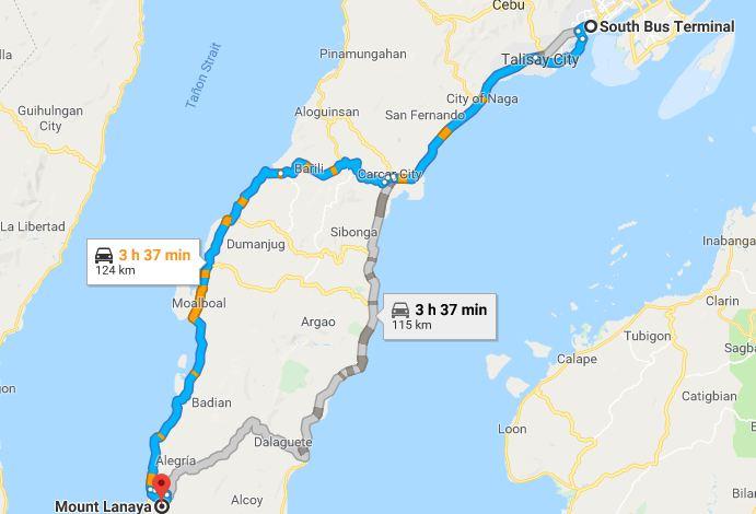Map to Mt. Lanaya