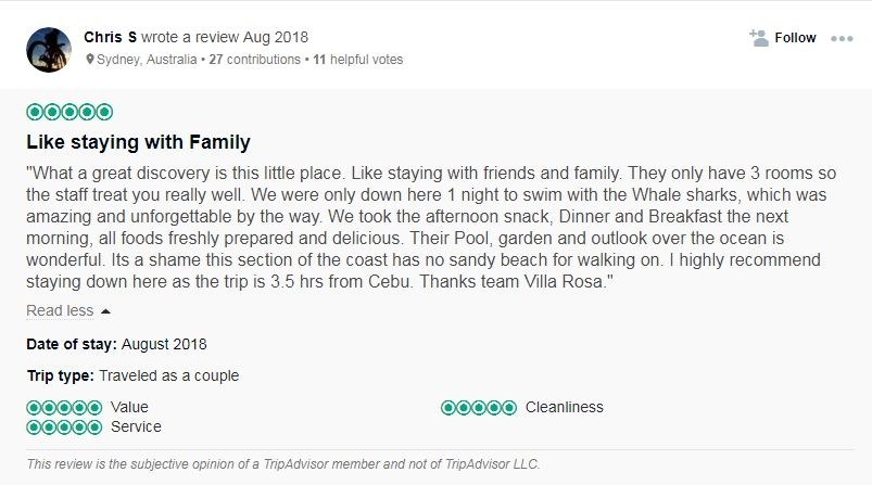 Traveler's review on Villa Rosa. Screengrab from Villa Rosa