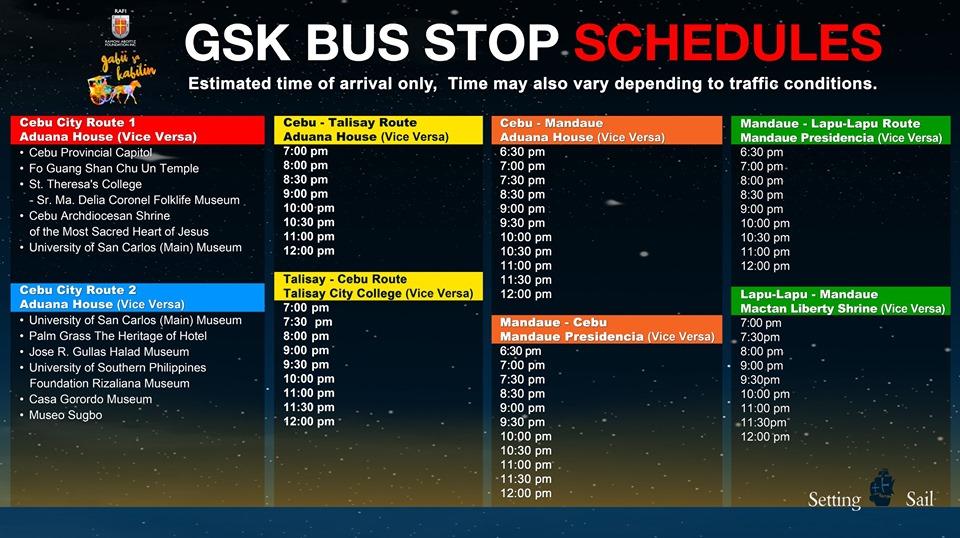 Gabii Sa Kabilin 2019 Bus Stop Schedule